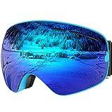 Ski Goggles, Snow Goggles, Snowboard Goggles with Matte Anti-Fog 100% UV Protection Lens TPU Frame
