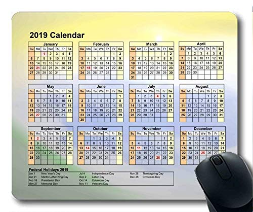 2019 Calendar with Important Holiday Pads,Mouse pad,Starry Sky Galaxy Gaming Mouse pad