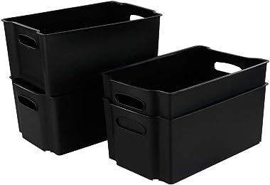 Hommp Paquete de 4 canastas de almacenamiento de plástico apilables negras / organizador de contenedores de almacenamiento
