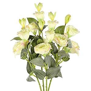 XHXSTORE 4pcs Ramo de Flores Artificiales Decoracion Plastico Flor Artificial Amarilla Arbusto Decorativas para Exterior…
