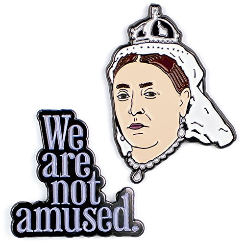 Queen Victoria and We Are Not Amused Enamel Pin Set - 2 Unique Colored Metal Lapel Pins