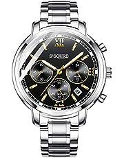 e88ba0947c6b BesTn出品 腕時計 メンズ クオーツ 電池付き ストップウォッチ 日付 夜光 防水 ビジネスマン