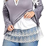 Plus Size Shirt Extenders Women Layering Fake Top Sweep Lace Skirt for Shirts (White, 4XL/Waist:39.3'')