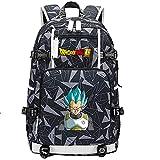 ZZGOO-LL Dragon Ball Son Goku/Vegeta IV/Torankusu Mochila Mochila Casual Impermeable Viaje de Negocios con USB Unisex-F