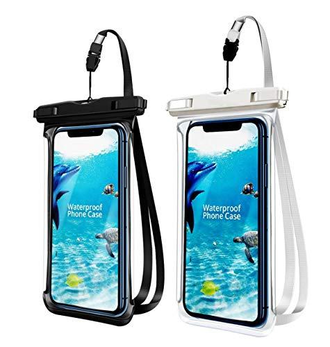 Summer Beach Funda impermeable universal para teléfono móvil, 2 unidades, bolsa seca con cordón para iPhone 11, XS Max XR X 8 7 6 Plus, Samsung S9 S8