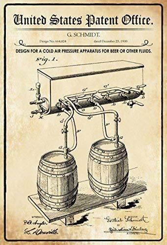 US Patent Bier Zapfanlage Beer Machine 1900 Letrero de Metal Placa de Metal Signo de Arqueado Metal Tin Sign 20 X 30CM