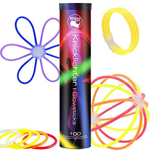 Lumare Rhino Glow 100er Marken Knicklichter Set inkl. Verbindern für Armbänder, Ketten, Glow Sticks in blau, grün, rot, gelb und orange, bunter Partyspaß für Kinder und Erwachsene …