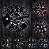 TPFEIDisque Vinyle Horloge Murale Équipe de Football Disque Vinyle Horloge de Nuit Horloge Rugby Sportifs Art Mural Jeu de décoration Joueur Sport Garçons Cadeau @ 7_LED_Color_Change