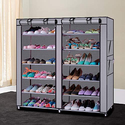 JIESD-Z Organizador de almacenamiento para zapatos de 6 niveles con bolsillos laterales, armario no tejido con cremallera a prueba de polvo para espacio pequeño, apartamento, dormitorio (gris)