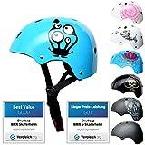 SkullCap® Kids BMX & Skate Helmet - Bicicleta Y Scooter Eléctrico, Diseño: Monster Blue, Talla: S