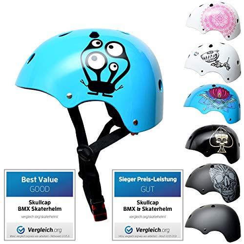 Skullcap® Skaterhelm Kinder hellblau Monster Blue - Fahrradhelm Jungen Mädchen ab 6 Jahre Größe 53-55 cm - Scoot and Ride Helmet Kids - Skater Helm für BMX Scooter Inliner Fahrrad Skateboard Laufrad