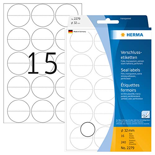 HERMA 2279 Verschlussetiketten transparent rund (Ø 32 mm, 16 Blatt, Folie, matt, perforiert) selbstklebend, permanent haftende Haushaltsetiketten zur Handbeschriftung, 240 Haftetiketten, durchsichtig