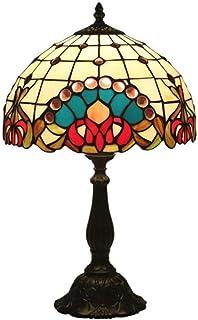 JEONSWOD Style européen Lampe de table, verre teinté + base en alliage de zinc for la maison Hôtel Lampe Décoration
