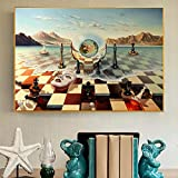 Máscara de ajedrez surrealista de Salvador Dalí en el mar Pinturas en lienzo Carteles abstractos e impresiones Cuadros de pared para decoración de sala de estar 60x90cm Sin marco