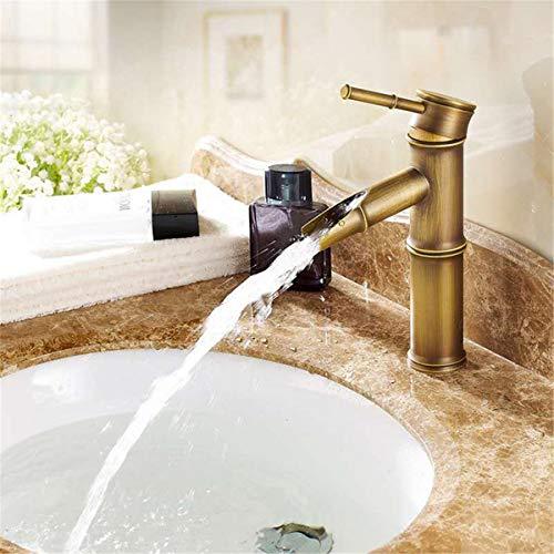gszfsm001 - Grifo de lavabo (bambú, grifo de lavabo con mango de lavabo, mezcla caliente y frío)