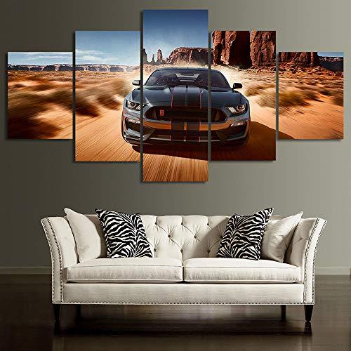 JJJKK 5 Pieza Cuadro sobre Lienzo Ford Mustang GT Coche Enmarcado y Listo para Colgar Moderno Decoracion de Pared Abstractos Impresión Artística
