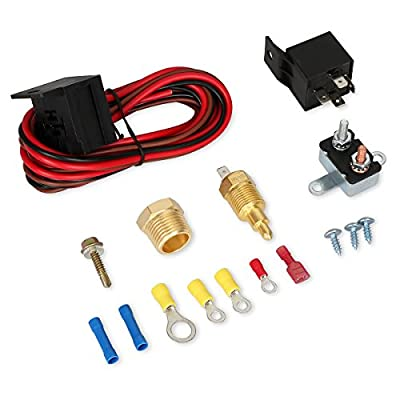 175-185 Degree Electric Cooling Fan Thermostat Kit Temperature Sensor Temperature Switch 60 AMP Relay Kit - 2 Yr Warranty