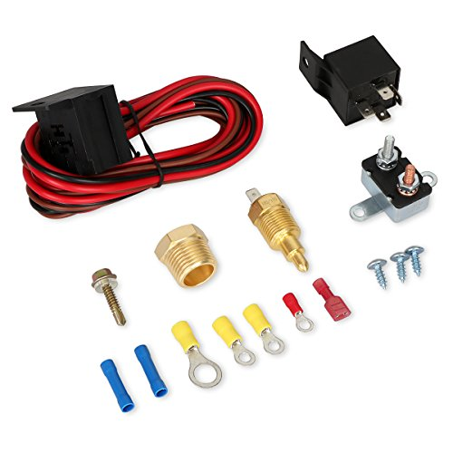 175-185 Degree Electric Cooling Fan Thermostat Kit Temperature Sensor Temperature Switch 40 50 60 AMP Relay Kit