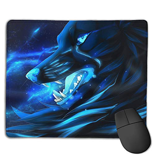 Teesofun Unique Mouse Pad Cool Blue Wolf Pattern Rectangle Rubber Mousepad 8.66 X 7.09 Inch Non-Slip Gaming Mouse Pad