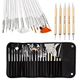 CellDeal 20pcs Nail Art Designing Painting Dotting Detailing Pen Brushes Bundle Tool Kit
