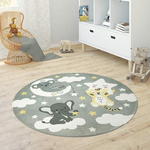 Paco Home Alfombra Infantil Redonda Chicas Chicos Estrellas Luna Elefante Arco Iris, tamaño:Ø 150 cm Redon, Color:Gris