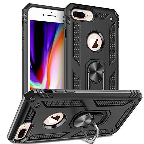 Custodia iPhone 8 Plus, Custodia iPhone 7 Plus,Cover iPhone 6 Plus, Silicone Armatura Antiurto Copertura Cassa Custodia Cover per iPhone 6 Plus/7 Plus/8 Plus (Nero)