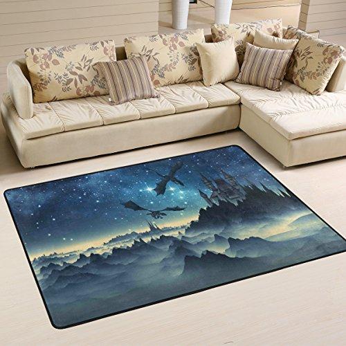 Yibaihe Leichter bedruckter Teppich Bodenmatte 3D Fantasie Drachen und Schloss für Wohnzimmer Schlafzimmer 90 x 60 cm, Polyester, multi, 91 x 61 cm(3' x 2')