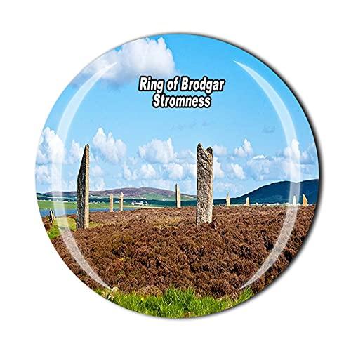 Anillo de Brodgar Stromness Continental Escocia 3D Imán para nevera de recuerdo de cristal de recuerdo de viaje colección de recuerdos de regalo para el hogar y la cocina