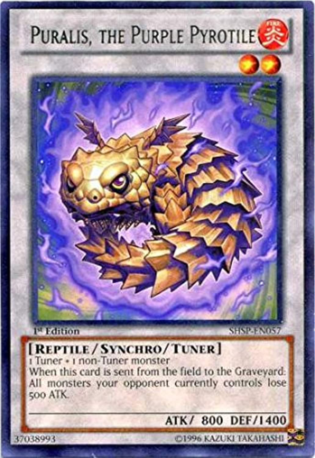 YuGiOh   Puralis, the Purple Pyredile (SHSPEN057)  Shadow Specters  Unlimited Edition  Rare