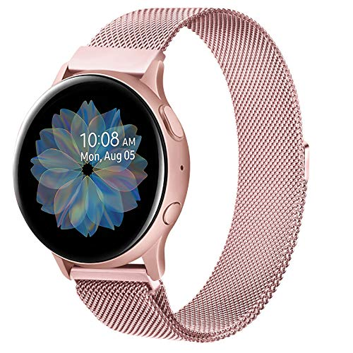 ZGCE Kompatibel mit Samsung Galaxy Watch Active/Active 2 40mm/44mm Armband, 20mm Edelstahl Mesh MetallUhrenarmband für Gear Sport/S2 Classic/Garmin Vivo Active 3/Watch 3 41mm (20mm, Rosa)