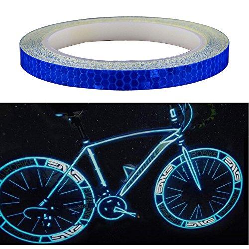 Amaoma Pegatinas Reflectantes para Bicicleta 8M (315'), Cinta Reflectante Adhesiva Etiqueta Engomada del Neumático para Motocicleta Coche Bici de Montaña Ciclismo Casco Mochilas, Azul