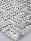1alfombrilla mosaico azulejos mosaico cristal Acero Inoxidable Blanco Plata 15x 15cm 8mm Nuevo