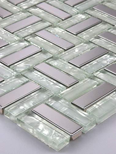 1 Matte Glasmosaik Mosaikfliesen Mosaik Glas Edelstahl Weiß Silber 15x15cm 8mm Neu