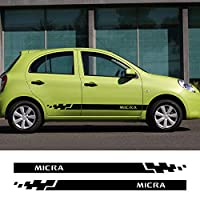 日産マイクラ用2個サイドカードアスカートステッカービニールフィルムスポーツストライプレーシングスタイリング車体デカールカーアクセサリー