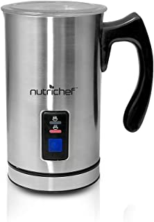 NutriChef PKMFR10 Electric Milk Frother and Warmer, Stainless Steel