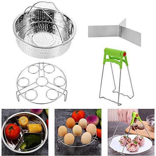 Panier vapeur avec support pour cuiseur à œufs, séparateur, compatible avec les cocottes de 5,6,8 litres, en acier inoxydable, lot de 3 pièces