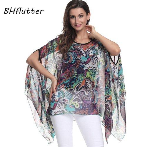 ASGHILL Boho Blusas y Camisas Tallas Grandes Mujeres Batwing Kimono Camisas Casuales de Verano Imprimir Chifón Tops Camisetas, Fucsia, 5XL