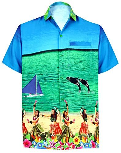 LA LEELA Men's 3D HD Dolphin Hula Dancer Front Pocket Short Sleeve Hawaiian Shirt M Blue_W555