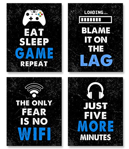"""Video Game Decor Set of 4 (8""""X10""""), Boys Room Decorations for Bedroom, Game Room Decor, Video..."""