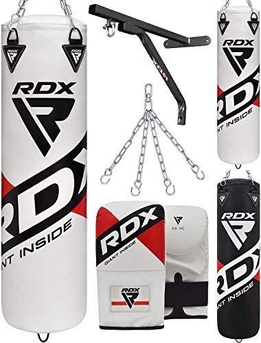 RDX Boxsack Set UNGEFÜLLT Kickboxen MMA Boxen Muay Thai mit wandhalterung Stahlkette Training Handschuhe Kampfsport Schwer Punchingsack Gewicht 4FT 5FT 4PC Punching Bag (MEHRWEG)