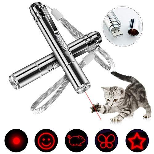 Wuudi LED Pointer für Katzen 2 Stück Katzenspielzeug Katze Interaktive Spielzeug mit USB-Anschluss Interaktives Trainingsgerät