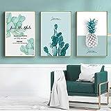 GYJDD Planta Verde Piña Cactus Arte de la Pared Pintura en Lienzo Carteles e Impresiones nórdicos Modernos Cuadros de Pared para la Sala de Estar Decoración del hogar 40x60cmx3 Sin Marco
