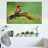 絵画イーターズ鳥ブラッシュモス花フレームレスキャンバスプリント壁の写真リビングルームのポスター40x50cmフレームレス