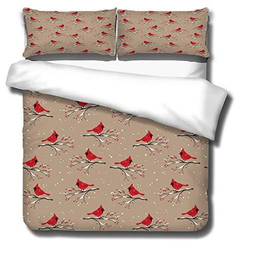 ZDDWLDL Juego de Cama Patrón de pájaro Animal Rojo marrón Funda de Edredón de Microfibra 260x220 cm Suave y práctica Ropa de Cama fácil de cuidar,antialérgico,con 2 Fundas De Almohada 50x75 cm