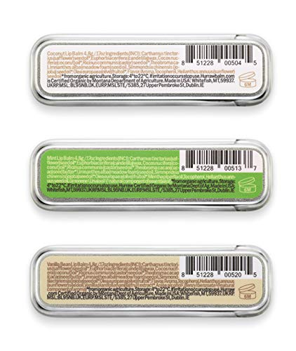 Hurraw! Coconut, Mint, Vanilla Lip Balm Slim Slider Tins, 3 Pack Bundle: Organic, Certified Vegan, Cruelty and Gluten Free. Non-GMO, All Natural Ingredients. Bee, Shea, Soy and Palm Free. Made in USA