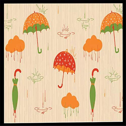 DZBHSCL 4D behang wandschilderingen, cartoonoranje paraplu regendruppels kunstdruk maat fotobehang voor kinderkamer kinderkamer achtergrond wandsieraden, 76 × 108 in 190 cm (H) x 270 cm (W) 64in×100in 160cm(H)×250cm(W)