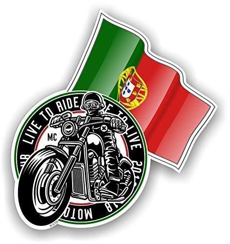 Rétro Club Moto Cafe Racer Motard Design avec Portugal Portugais Drapeau Motif Sticker Autocollant Vinyle Voiture 100x106mm