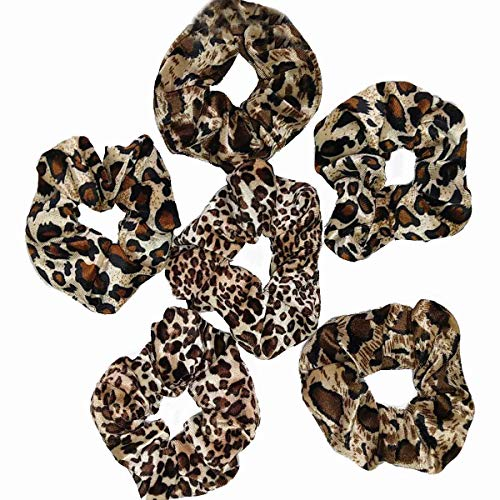 6 PCS scrunchies for hair cheetah print hair ties scrunchie animal print velvet leopard bow women lepord large clips for thick hair 3 styles LARGE