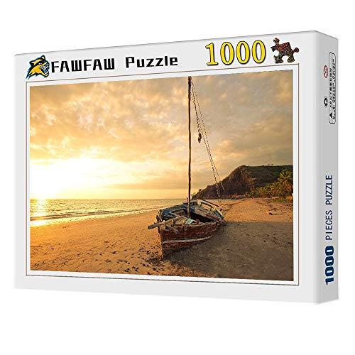 FAWFAW Puzzle Personalizado, 1000 Piezas, Velero, Amanecer, Playa, Vista De La Costa Juegos De Puzzle Decoración para El Hogar Regalos