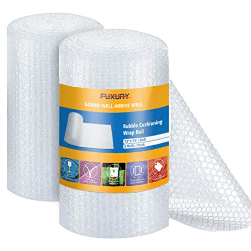 """Fuxury Bubble Cushion Wrap Roll, Air Bubble Cushioning Wrap Roll- 2 Rolls 72 Feet Total,Perforated Every 12"""",Included 20 Fragile Sticker Labels for Packaging Moving Shipping Boxes Supplies"""